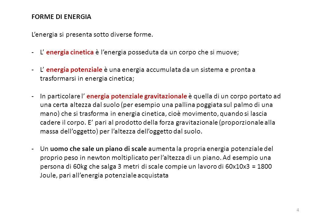 FORME DI ENERGIA L'energia si presenta sotto diverse forme. L' energia cinetica è l'energia posseduta da un corpo che si muove;