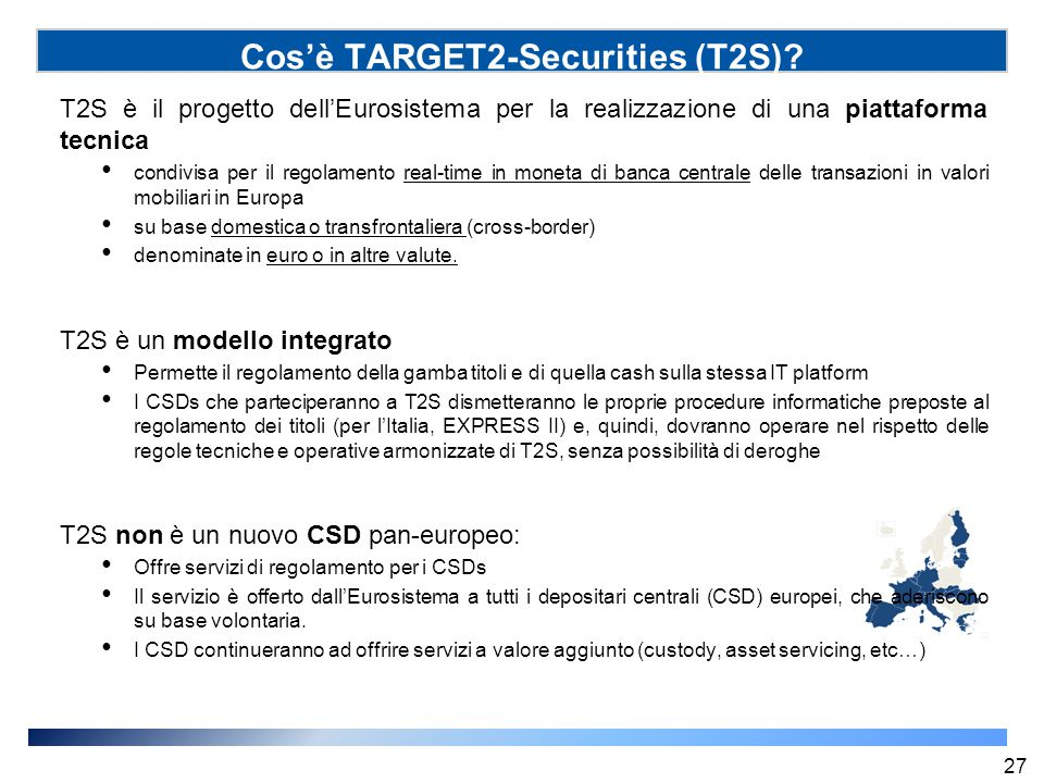 Cos'è TARGET2-Securities (T2S)