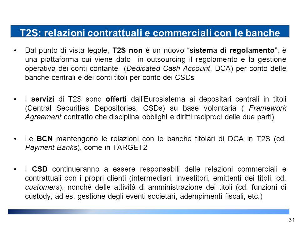 T2S: relazioni contrattuali e commerciali con le banche