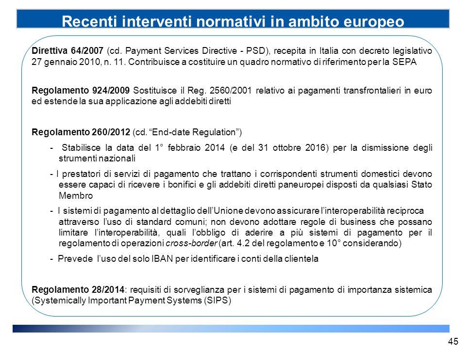 Recenti interventi normativi in ambito europeo