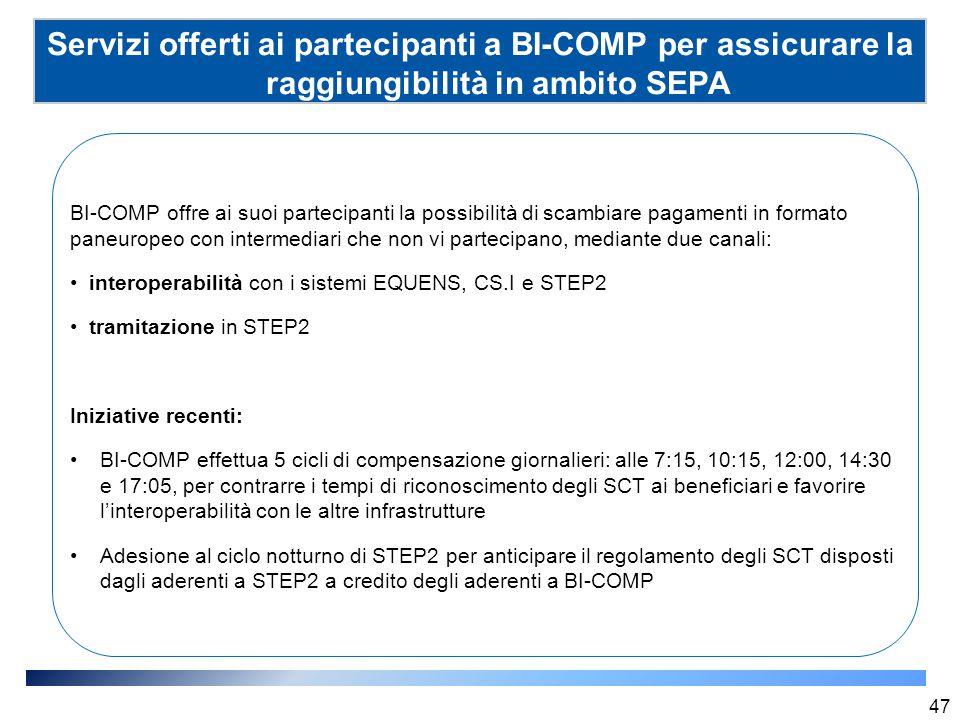 Servizi offerti ai partecipanti a BI-COMP per assicurare la raggiungibilità in ambito SEPA