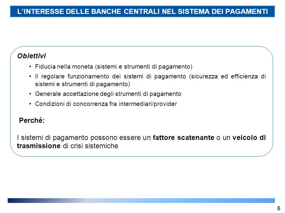 L'INTERESSE DELLE BANCHE CENTRALI NEL SISTEMA DEI PAGAMENTI