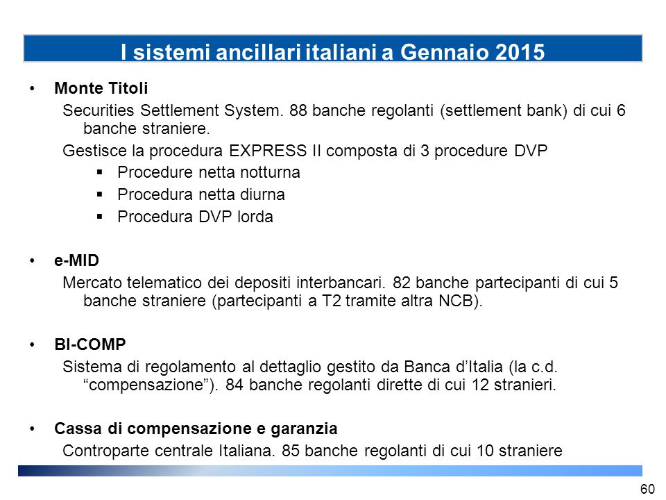 I sistemi ancillari italiani a Gennaio 2015