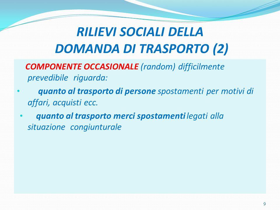 RILIEVI SOCIALI DELLA DOMANDA DI TRASPORTO (2)