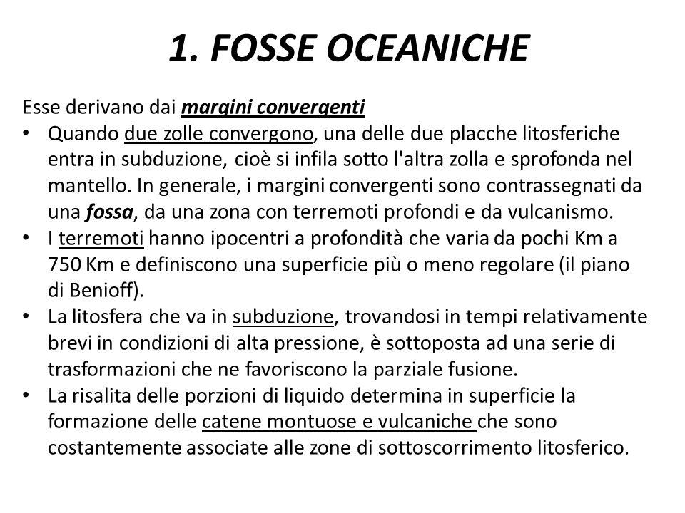 1. FOSSE OCEANICHE Esse derivano dai margini convergenti