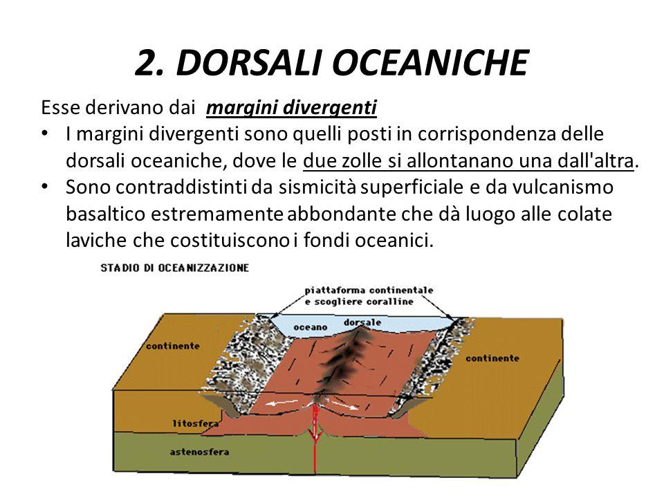 2. DORSALI OCEANICHE Esse derivano dai margini divergenti