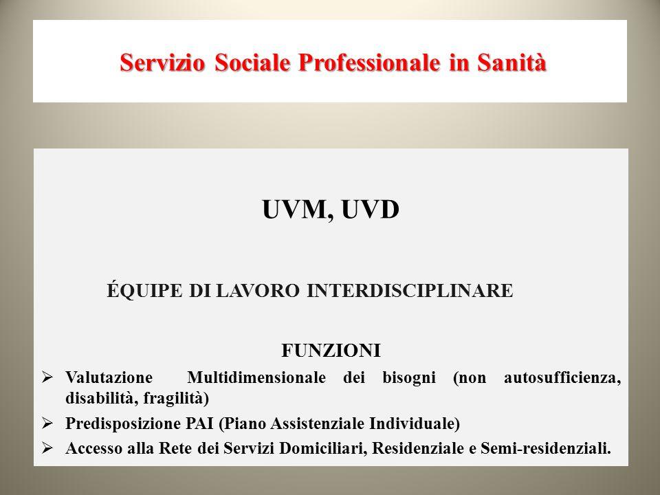 Servizio Sociale Professionale in Sanità