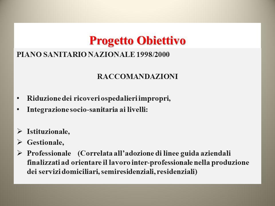 Progetto Obiettivo PIANO SANITARIO NAZIONALE 1998/2000 RACCOMANDAZIONI