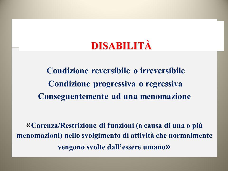 DISABILITÀ Condizione reversibile o irreversibile