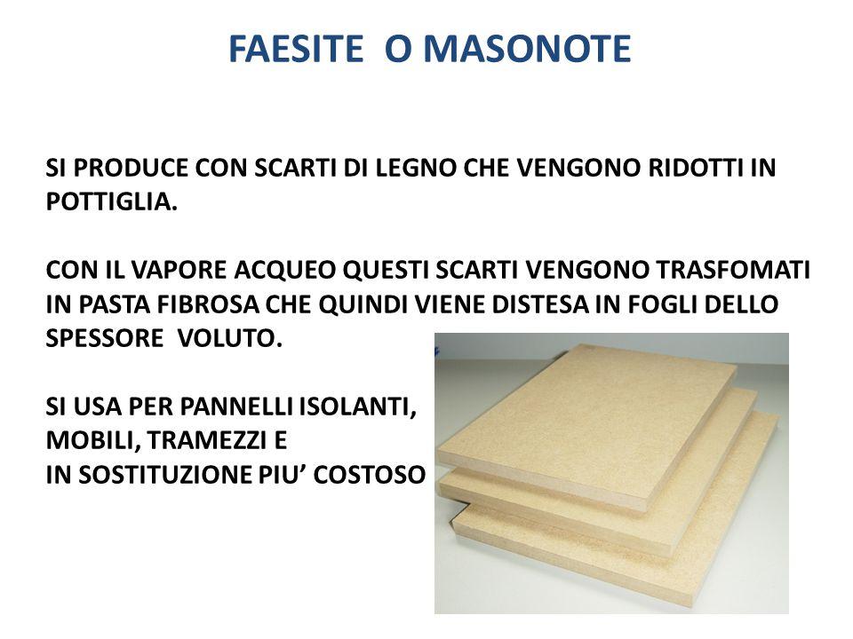 FAESITE O MASONOTE SI PRODUCE CON SCARTI DI LEGNO CHE VENGONO RIDOTTI IN POTTIGLIA.