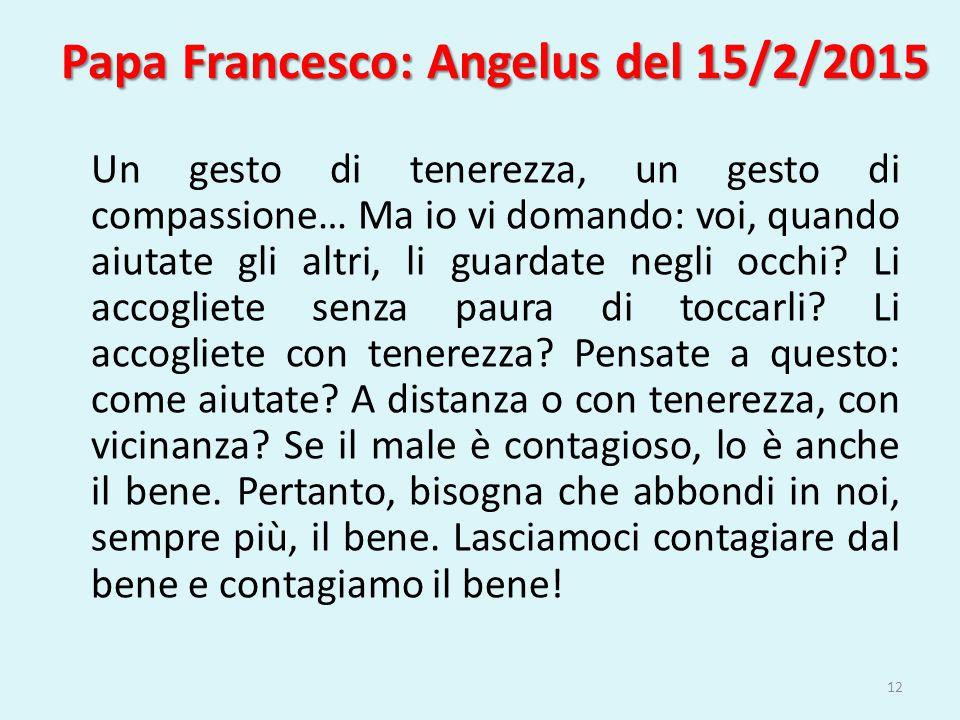 Papa Francesco: Angelus del 15/2/2015