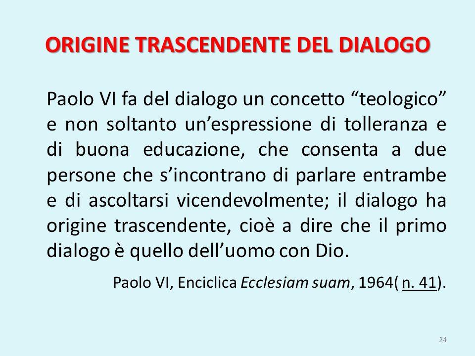 ORIGINE TRASCENDENTE DEL DIALOGO