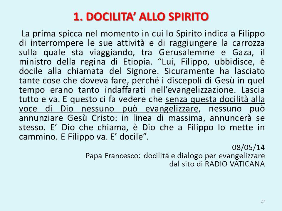 1. DOCILITA' ALLO SPIRITO