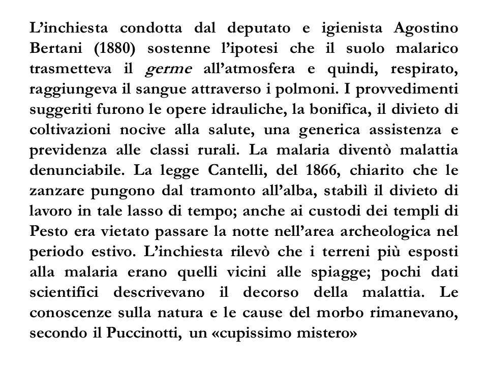 L'inchiesta condotta dal deputato e igienista Agostino Bertani (1880) sostenne l'ipotesi che il suolo malarico trasmetteva il germe all'atmosfera e quindi, respirato, raggiungeva il sangue attraverso i polmoni.