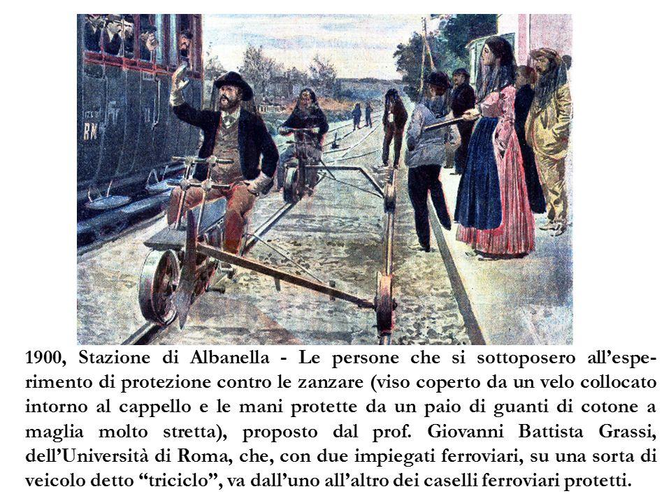 1900, Stazione di Albanella - Le persone che si sottoposero all'espe-rimento di protezione contro le zanzare (viso coperto da un velo collocato intorno al cappello e le mani protette da un paio di guanti di cotone a maglia molto stretta), proposto dal prof.