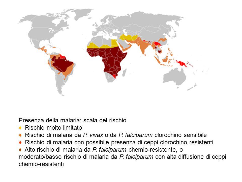 Presenza della malaria: scala del rischio ♦ Rischio molto limitato ♦ Rischio di malaria da P.