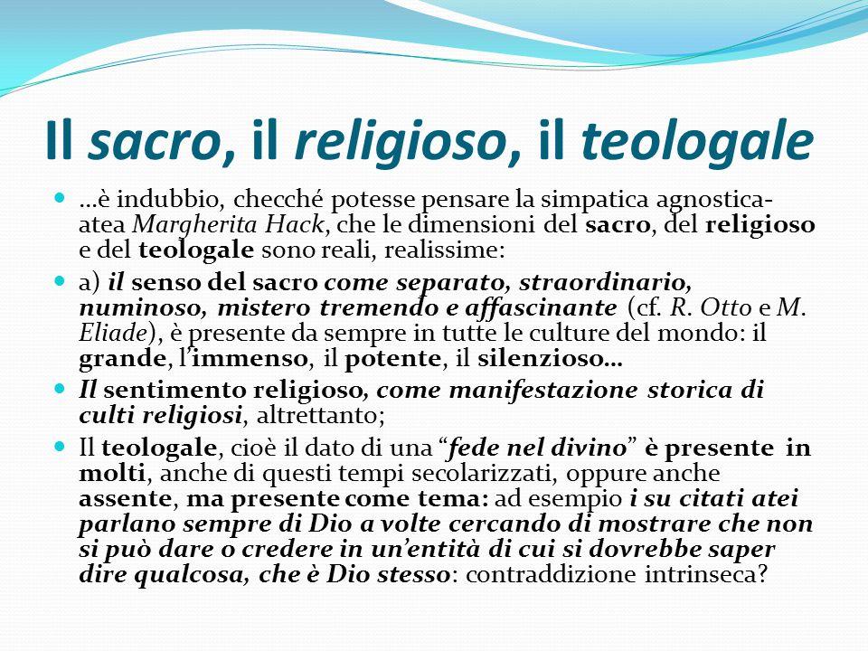 Il sacro, il religioso, il teologale