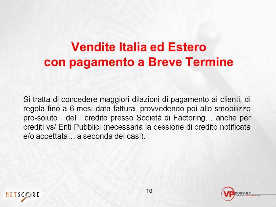 Vendite Italia ed Estero con pagamento a Breve Termine
