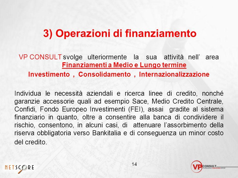 3) Operazioni di finanziamento