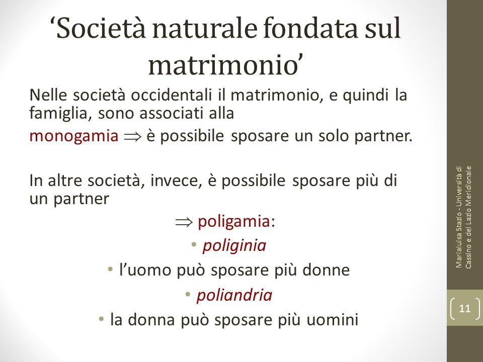 'Società naturale fondata sul matrimonio'
