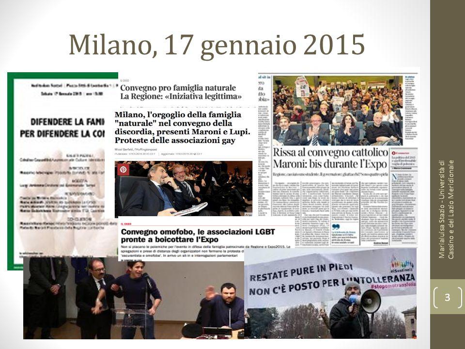 Milano, 17 gennaio 2015 Marialuisa Stazio - Università di Cassino e del Lazio Meridionale