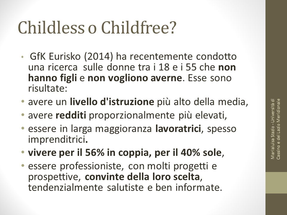 Childless o Childfree