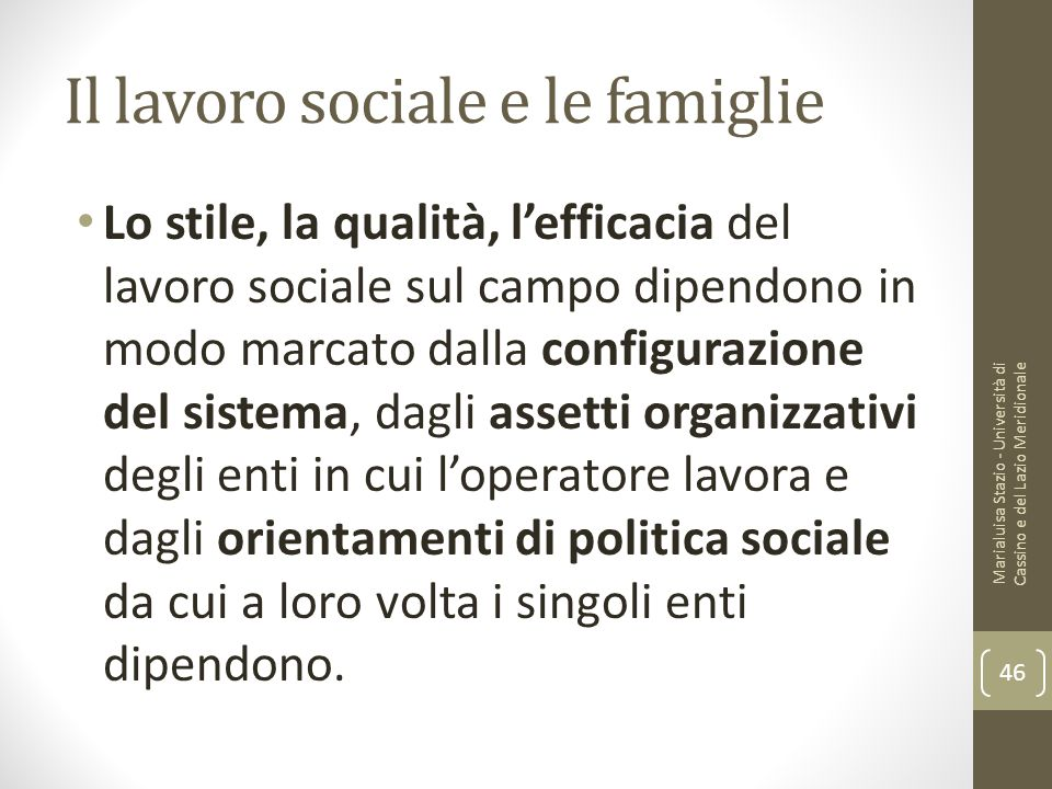 Il lavoro sociale e le famiglie
