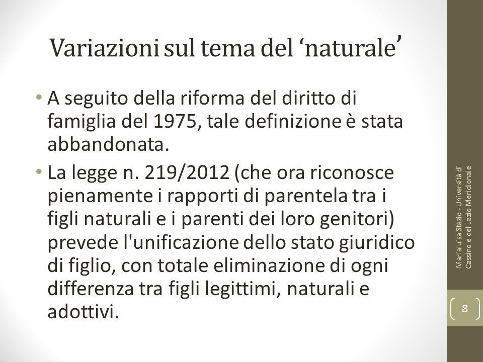 Variazioni sul tema del 'naturale'