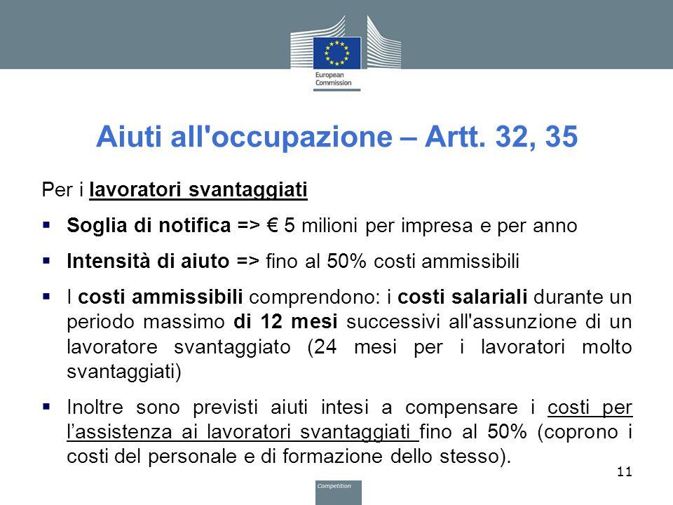 Aiuti all occupazione – Artt. 32, 35