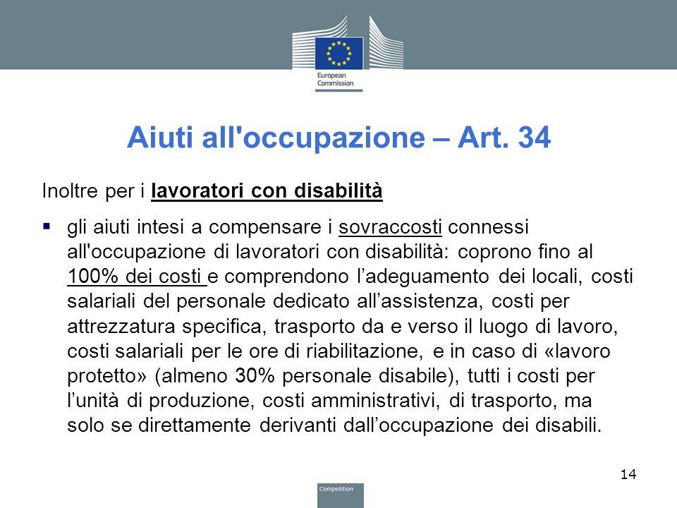 Aiuti all occupazione – Art. 34
