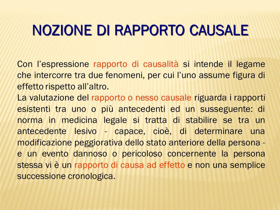 NOZIONE DI RAPPORTO CAUSALE