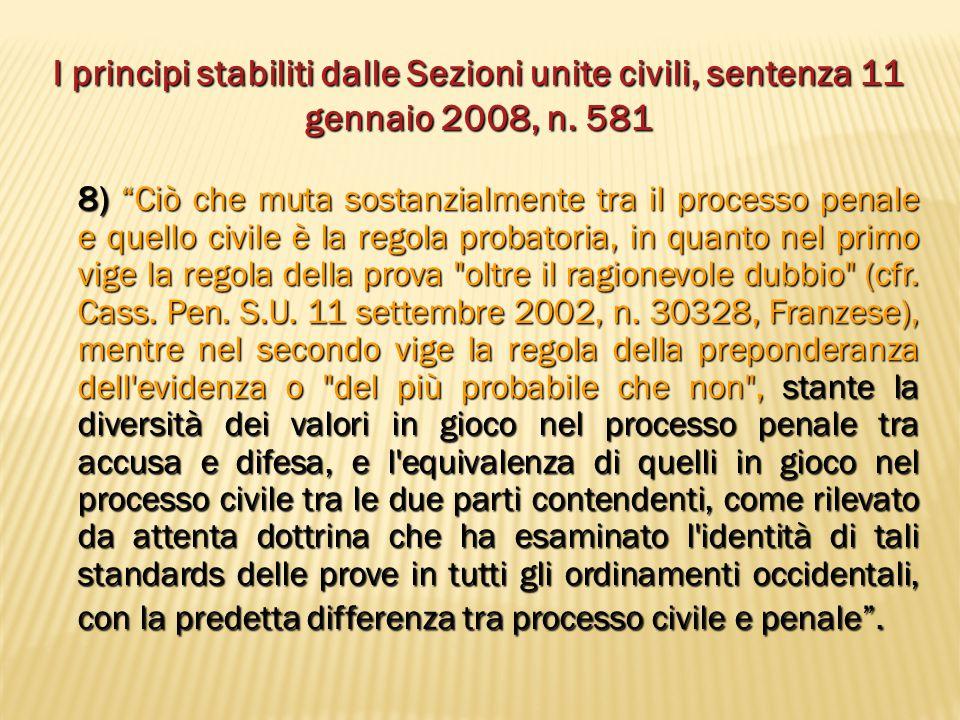 I principi stabiliti dalle Sezioni unite civili, sentenza 11 gennaio 2008, n. 581