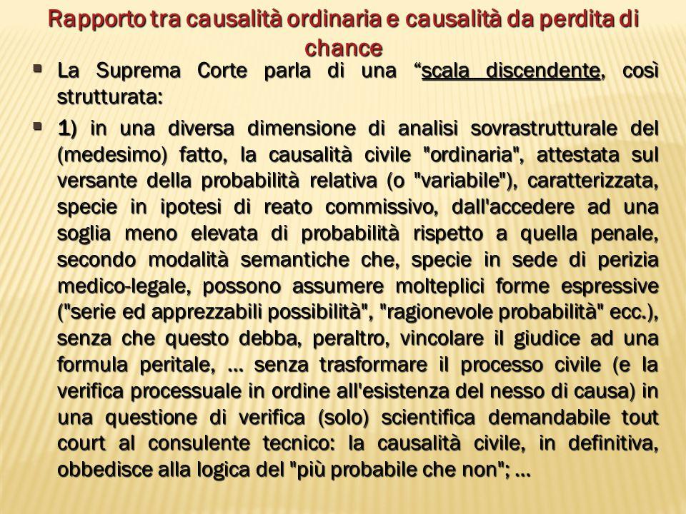 Rapporto tra causalità ordinaria e causalità da perdita di chance