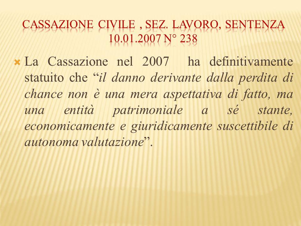 Cassazione civile , sez. lavoro, sentenza 10.01.2007 n° 238