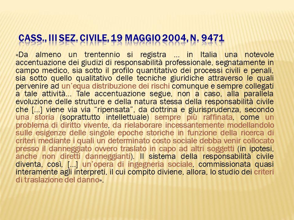 Cass., III Sez. Civile, 19 maggio 2004, n. 9471