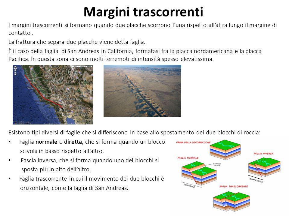 Margini trascorrenti I margini trascorrenti si formano quando due placche scorrono l'una rispetto all'altra lungo il margine di contatto .