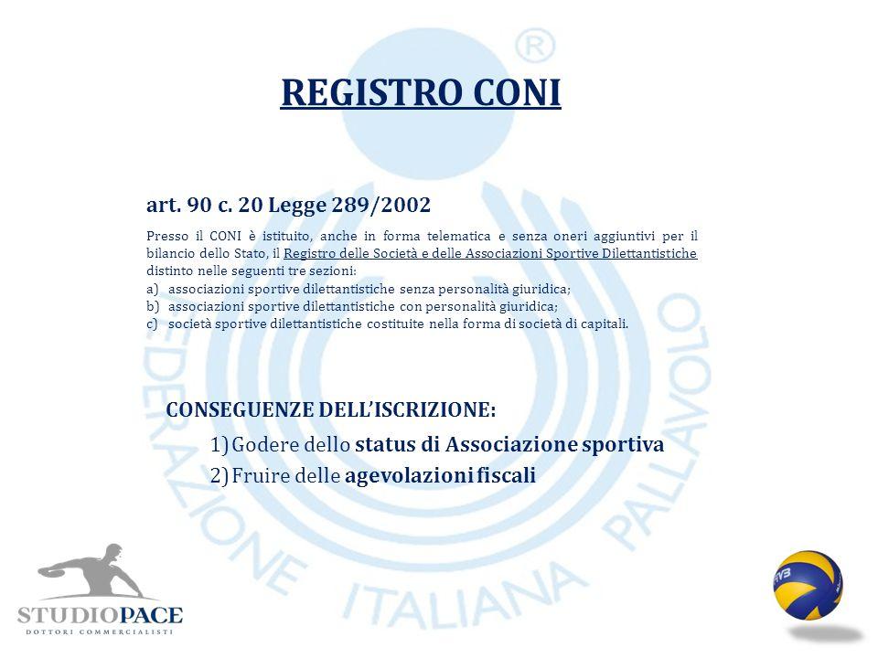 REGISTRO CONI art. 90 c. 20 Legge 289/2002