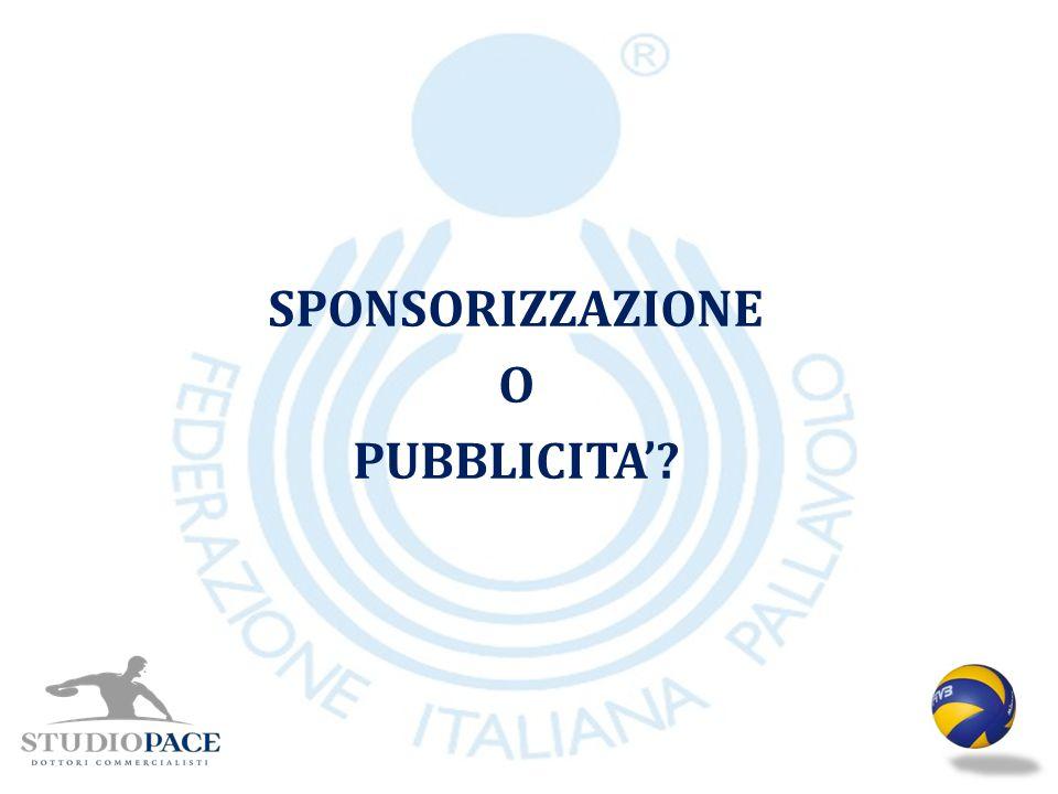 SPONSORIZZAZIONE O PUBBLICITA'