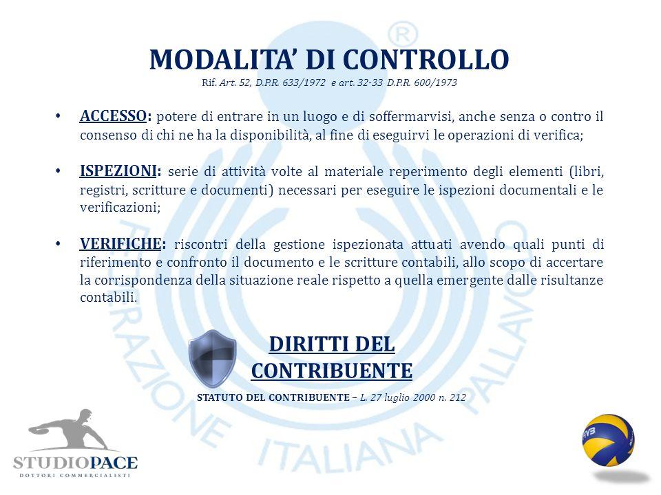 MODALITA' DI CONTROLLO DIRITTI DEL CONTRIBUENTE