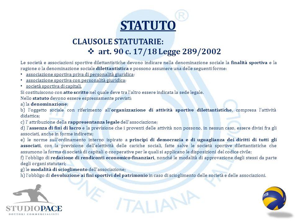 STATUTO CLAUSOLE STATUTARIE: art. 90 c. 17/18 Legge 289/2002
