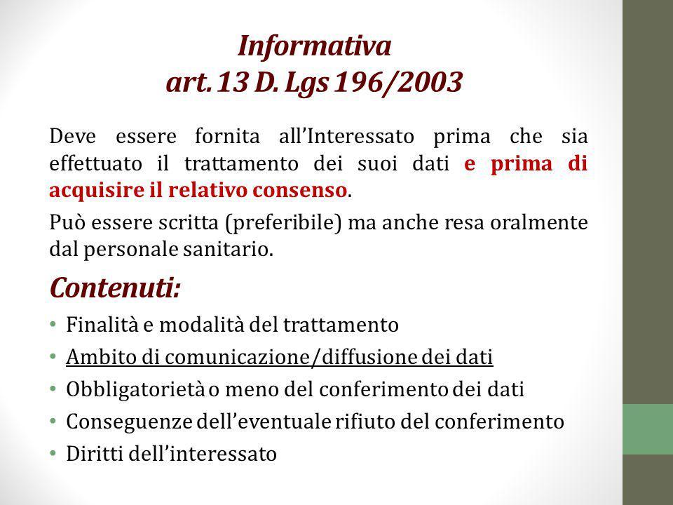 Informativa art. 13 D. Lgs 196/2003 Contenuti: