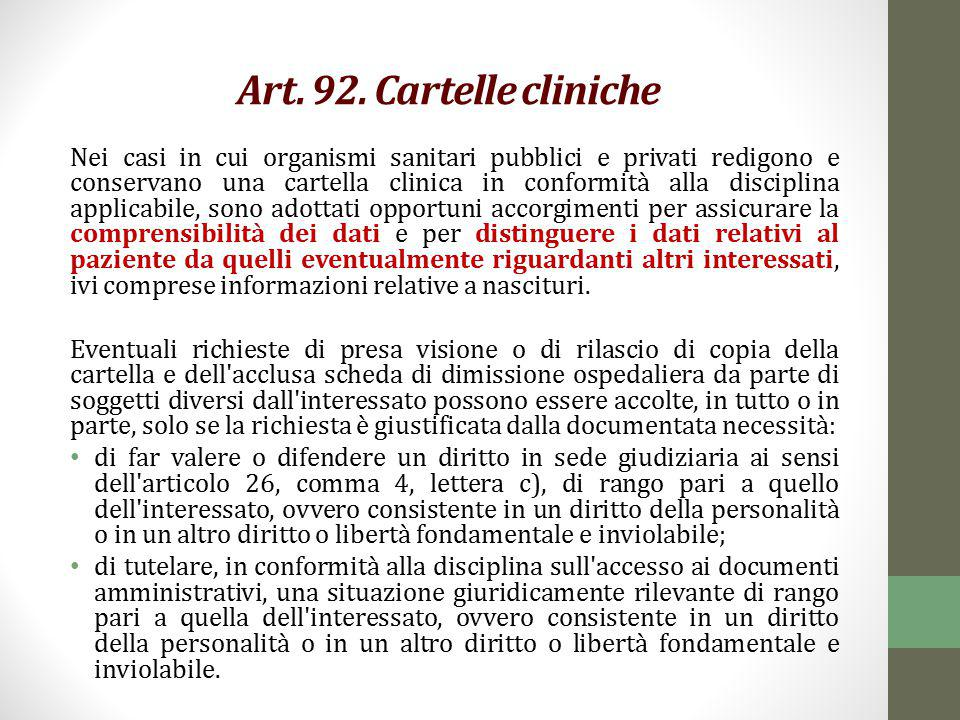 Art. 92. Cartelle cliniche