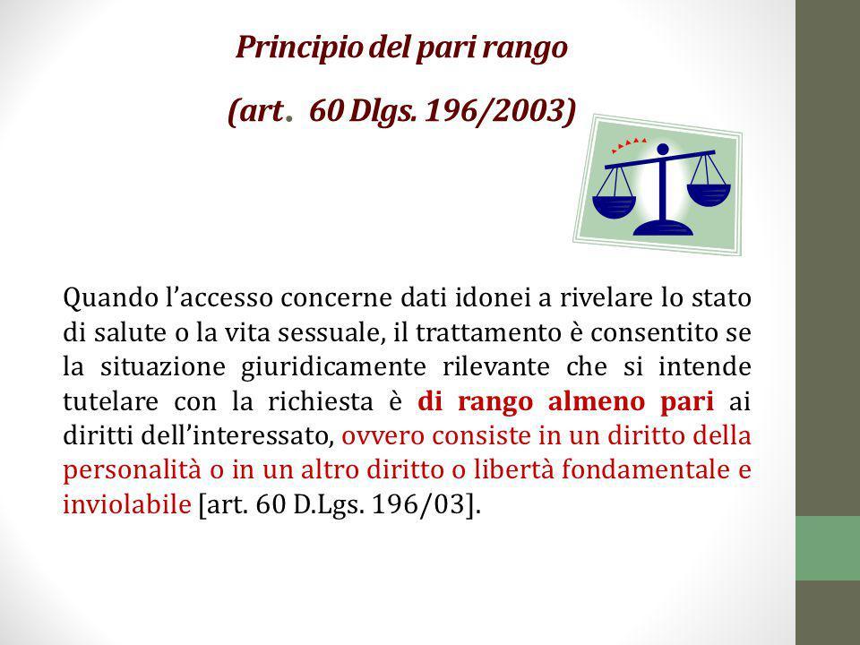 Principio del pari rango (art. 60 Dlgs. 196/2003)