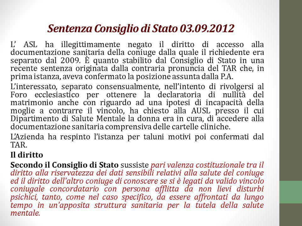 Sentenza Consiglio di Stato 03.09.2012
