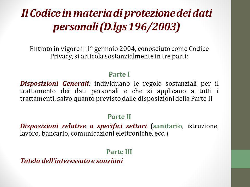 Il Codice in materia di protezione dei dati personali (D.lgs 196/2003)