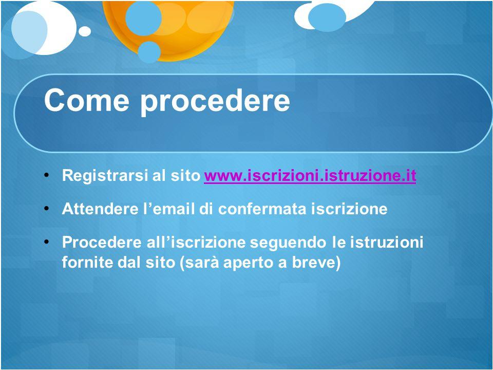 Come procedere Registrarsi al sito www.iscrizioni.istruzione.it
