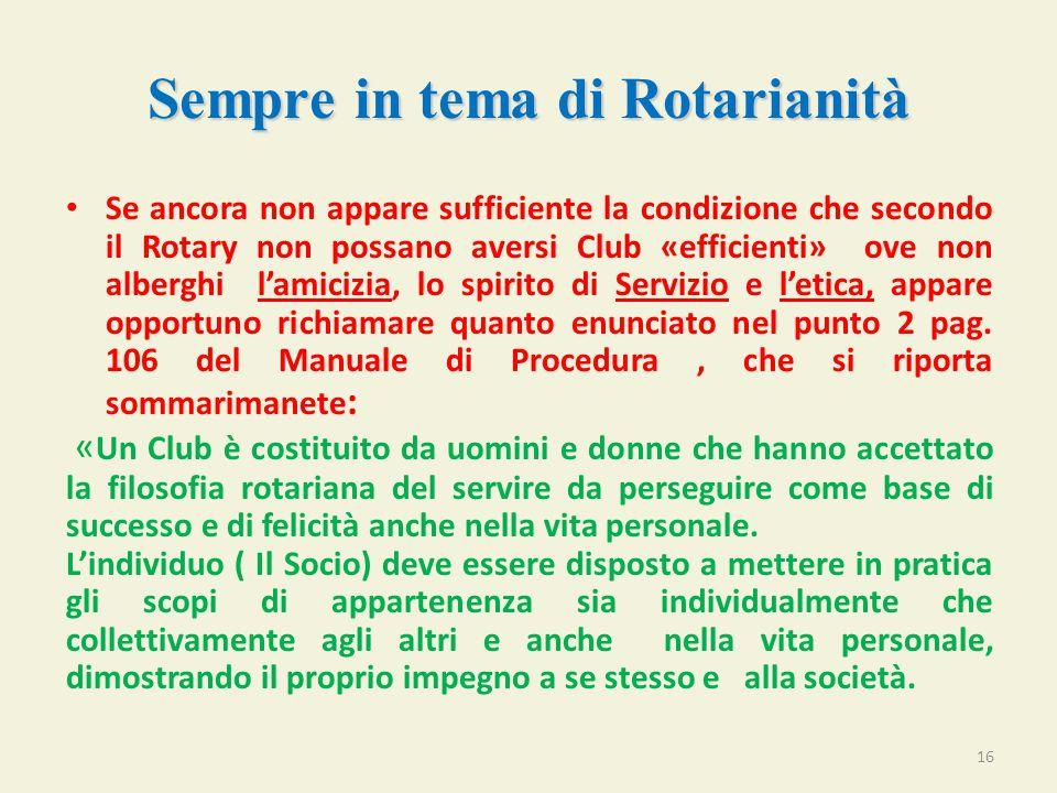 Sempre in tema di Rotarianità