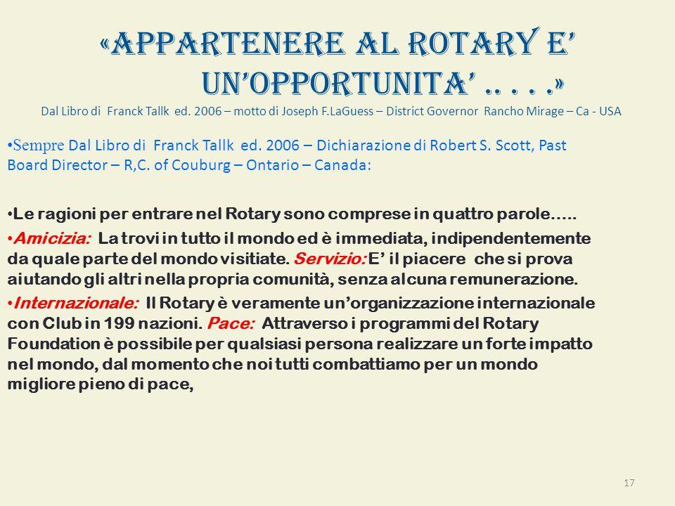 «Appartenere al rotary e' un'opportunita'