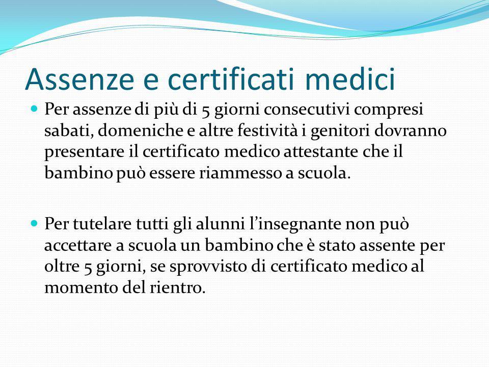 Assenze e certificati medici