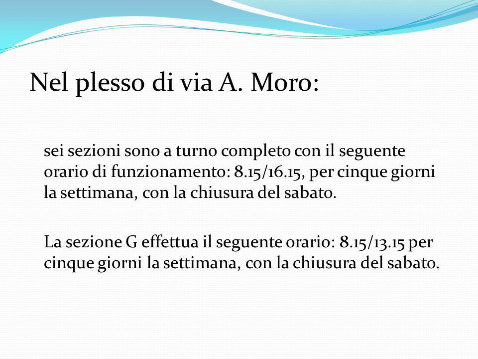 Nel plesso di via A. Moro: